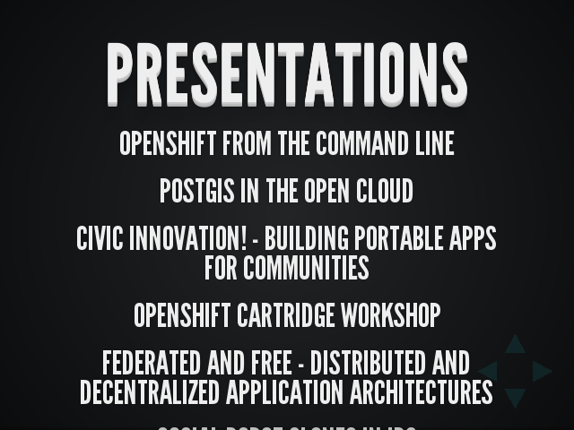 Presentations – OpenShift from the Command Line – PostGIS in the Open Cloud