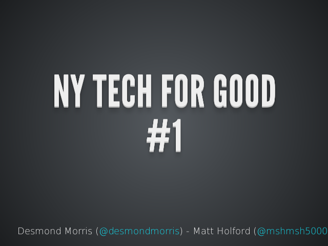NY TECH FOR GOOD – #1