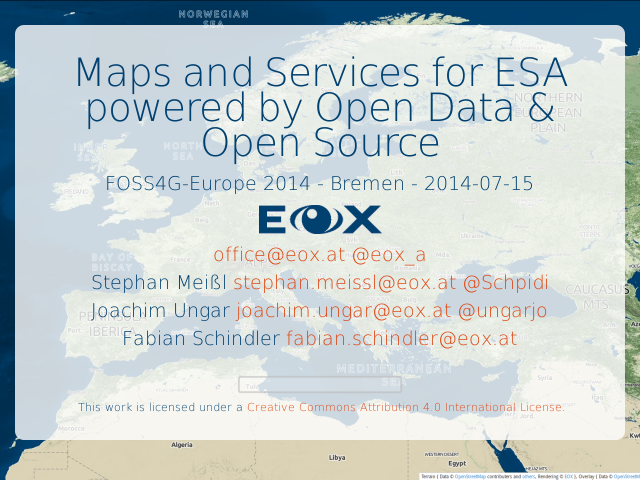 Maps and Services for ESA powered by Open Data & Open Source – Conclusions